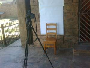 Example of the placement of a camera and chair